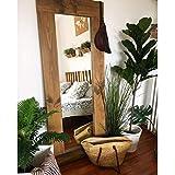 Hannun - Spiegel Amarie, 165x65cm   Handgefertigter Spiegel mit Massivholz-Rahmen, rustikaler und eleganter Holzspiegel, Farbe: Alter Nussbaum