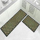 OPLJ Abstrakte Marmorküche Bodenmatte Wohnzimmer Türmatten Flur Eingang Küchen Teppich Golden gestreifte Schlafzimmer Teppiche A7 50x80cm + 50x160cm