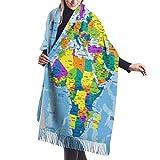 gong Bunte politische Weltkarte Klar beschriftete Bildung Übergroßer Kaschmirschal Schal Wrap Winter Warm For Women 77X27