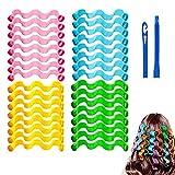 DXQDXQ Heizig 32 Stück Haar Lockenwickler Spiral Curler Locken DIY Wave Styling Kit Ohne Hitze Spiral Rollen Hair Curler mit Styling-Haken für Langes Mittellanges Haar für Dame (Color : 45cm)