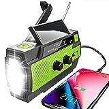 YIKANWEN Solar Radio,AM/FM Kurbelradio Tragbar USB Notfallradio mit 4000mAh Wiederaufladbare Batterie, Led Taschenlampe, SOS Alarm und Handkurbel Dynamo für Camping, Reisen (Grün)