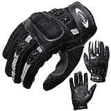 PROANTI Motorradhandschuhe Motorrad Handschuhe Sommer (Gr. XS - XXL, schwarz, kurz) - XL