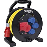 Xreel 9350180-P Kabeltrommel 25m, ø 31 cm, mit Bremsvorrichtung, stabile Kurbel, selbstschließende Klappdeckel, Thermoschutzschalter und CEE Steck