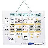 Navaris abwischbarer Wochenplan magnetisch 40 x 32cm - mit 115 Magneten und Stift - individualisierbare Magnettafel Familienplaner Wochenplaner Tafel