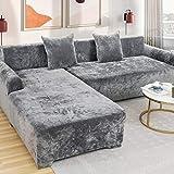 Love House Velvet Plüsch Schonbezug Sofa, Stretch Sofa Überwurf Sofabezug Weich Dick Sofahusse Für L-Form Schnittcouch,1 2 3 4 Sitzer -grau Recliner