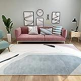 Teppiche deko für Schlafzimmer Leicht zu reinigender Grauer cremefarbener schwarzer weicher Teppich mit geometrischem Design büro deko teppichläufer waschbar 80*150CM