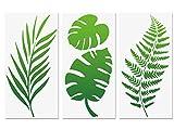 Tropische Blattschablonen, Farnblatt Monstera Palmblätter Wandschablone 3 Stück für Möbel Leinwand Wohnkultur Handwerk Botanische Blätter Wiederverwendbare Mylar-Schablonen 15x30