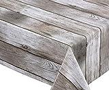 BEAUTEX Holz beige Wachstuch Tischdecke glatt abwischbar Garten Tischdecke RUND OVAL ECKIG, Größe wählbar (Eckig 140x200 cm)