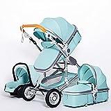 HZPXSB Luxuriöser Kinderwagen 3 in 1 tragbarer Reise-Kinderwagen-Faltschützer-Kinderwagen-Aluminiumrahmen Hohe Landschaftsauto für neugeborenes Baby (Color : 3 in 1 Green)