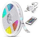 B.K.Licht LED Strip 5m, RGB Streifen, Strips, Band mit Farbwechsel, Stripes mit Fernbedienung, Lichtband selbstklebend, LED Leiste, Lichterkette bunt, L