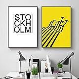 LLXXD Nordische minimalistische Dekoration Leinwand Malerei Wandbilder für Wohnzimmer Leinwand Wandkunst Schlafzimmer Buchstabe-40x60cmx2 (kein Rahmen)