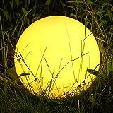 Albrillo RGB Solarlampe Außen - LED Solar Kugel mit Fernbedienung, Durchmesser 40cm mit 8 Farben, 1200mAh USB Aufladbar Kugellampe, Wasserdicht IP68 für Teich und Garten