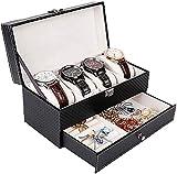 ZHICHUAN Uhr Aufbewahrungsbox Uhr Schmuck Anzeigen Organizer Box Pu Leder Doppelschicht Schmuckkasten Abschlussbare Uhrenanzeige Aufbewahrungsbox Sicher und stark/Schwarz/Einhei