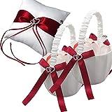 EinsSein 1x Ringkissen Hochzeit groß + 2X Streukörbchen Set Amore paentesi rot-weiß Traukissen Ringe Eheringe Satin Herzen Kissen rot weiß Schmuck