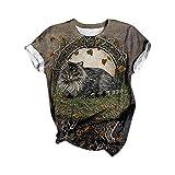 T-Shirt Damen Sommer Oberteile Schön Katze Drucken Sommer Kurzarm Tee Tops Casual Rundhals Shirt Hemd Bluse Teenager Mädchen Hemd Streetwear