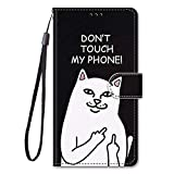 Miagon Full Body Flip PU Leder Schutzhülle für Samsung Galaxy S6,Bunt Muster Hülle Brieftasche Case Cover Ständer mit Kartenfächer,Weiß Katze