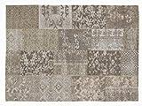 DALLIANCE ALLOVER Vintage Patchwork Velour Teppich in natur, Größe: 40x60