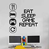 Eat Sleep Play Kinderzimmer Wandaufkleber Mural Vinyl Decal Kindergarten Kinder Gamer Kunst Teenager Video Spiel Wandb