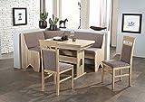 Beauty.Scouts Eckbankgruppe Rimini Sonoma Eiche Dekor Grau-Braun Set 4-teilig Truheneckbank ausziehbarer Tisch Stühle Buche massiv Küche Esszimmer
