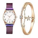 XULIM 【2021 spätestens】 Damen Armbanduhr mit Armreif Armbänder Zweiteiliger Anzug Damenuhr Uhr Minimalistisch Quartz Uhr Mode Damen Uhren Geschäftsquarzuhr Business Quarzuhr für Frauen Lila+Armband
