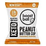 Boostball Keto Snacks, kohlenhydratarm, vegan, zuckerarm, glutenfrei, Faserquelle, 100% natürlich - Erdnussbutterbechergeschmack, Packung mit 12 x 40 g