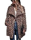 Zilcremo Damen Mantel Plüschjacke Wintermantel Warm Langarm Sherpa Leopard Winterjacke Leopard L