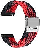 Niboow Geflochtenes Solo Loop Kompatibel mit Huawei Watch Armband 22mm, Ein Stück Nylon Sport Ersatzband für Huawei Watch 3/3 Pro/Huawei Watch GT 2 46 mm/GT 2e/Huawei GT2 Pro/Honor GS Pro-Black/Red