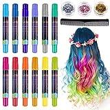 Lictin Haarkreide Haarkreide Kinder Auswaschbar 12 Farben Hair Chalk für Halloween Karneval Party Cosplay mit 8pcs Handschuhe 3 Glitzer und Kamm