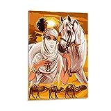 Goldenes Leinwandbild, Motiv: Wüstenprinzessin und ihr Pferd, Kunstdruck auf Leinwand, modern, 60 x 90 cm