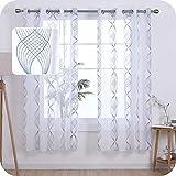 Umi Amazon Brand 2 Stück Voile Vorhang Ösen Vorhänge Farbbandmuster Kinderzimmer Dekosachals Leinenoptik 175x140 cm Blaugrün