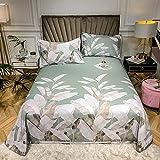 AZSOGOOD DREI-teilige Bambusfaser-Soft-Matte-Set mit einfachen Blättern, faltbaren maschinenwaschbaren Bettwäschen mit dem gleichen Kissenbezug, extra groß-Ö_250x250cm (3 stücke)
