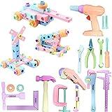 Gifts2U 84-teiliges Spielwerkzeug-Set, Spielzeug, realistische Konstruktion, inklusive Lineal, Kettensäge und Bohrschraube, für Flugzeug-Tankwagen, STEM-Kit für Kinder