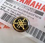 Yamaha 12mm Durchmesser Stimmgabel Aufkleber Emblem Logo Schwarz Gold Erhöht Gewölbt Gel Harz Selbstklebend Motorrad Jet Ski/ATV/Schneemobil/Gitarre