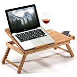 Bamboo Laptop Desk - Side Table, Height, Width & Angle Adjustable Lightweight and Foldable Laptop Notebook Desk Breakfast Table (55 x 35 x 29 cm), Natural Bamboo Notebook Table