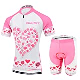 Radsport-Bekleidung für Mädchen, Atmungsaktiv Kinder Fahrradtrikot Kurzarm und Kurze Hosen mit Rückentaschen und reflektierende Streifen, Sommer (2XS, Rosa)