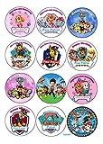 12 Muffinaufleger ca. 6 cm zum selbst ausscheiden, Cupcakes Muffinsbild Geburtstag Paw Patrol Fondant 0211W (0209W)