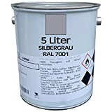 5 Liter Premium Garagenbodenbeschichtung | Hallenbodenbeschichtung | Bodenfarbe | Bodenbeschichtung | befahrbar | abriebsfest | RAL 7001 | Silbergrau | made by Wilck