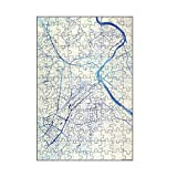 artboxONE-Puzzle S (112 Teile) Städte Stuttgart Deutschland Blue Infusion Map I