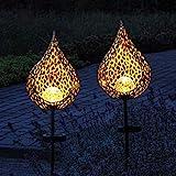 Gadgy Solar Gartenleuchten mit Erdspieß Tropfen | Set mit 2 Stück | LED Gartenstecker aus Metall | Gartendeko für Außen | Leuchten für den G