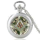 Antike Bronze Das Auge Gottes Glas Cabochon Quarz Taschenuhr Vintage Männer Frauen Freimaurer Anhänger Halskette Kette Stunden Uhr