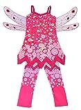 Lito Angels Mia and Me Kostüm Kleid Kinder Mädchen mit Flügel und Hose Verkleidung Fee Halloween Party Karneval Cosplay Pink Größe Gr. 5-6 Jahre 110 116