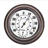 Lumuasky Metall Thermometer Hygrometer, Edelstahl dekorative Temperatur und Luftfeuchtigkeit Wandbehang für Hausgarten Patio (20 cm)