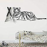 Wandaufkleber Ruhender Tiger Wandtattoo Liegend Indien Tiger Vinyl Wohnkultur Wohnzimmer Schlafzimmer Tigar Art 124X42Cm
