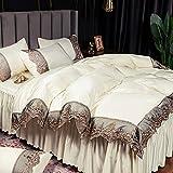 bettwäsche 135x200 set,Bettwäsche-Quilt-Set Vier-teilig, Sommer-hochwertiger Wasserwäsche-Seiden-Seidenrock ist mit einer Bettwäsche bedeckt, die für das Geschenk von Kindern und Freunden im Schlafzi
