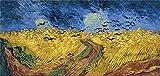 JRLDMD Van Gogh Wheatfield with Crows Reproducción de pinturas Arte de pared de FAMA Mundial Impresiones en lienzo Cuadro de Paisaje Cuadros Decoración 60x120cmx1 Sin Marco