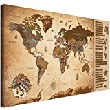 murando Rubbelweltkarte deutsch Pinnwand 90x45 cm Vintage Weltneuheit: Weltkarte zum Rubbeln Laminiert Rubbelkarte mit Fahnen/Nationalflaggen Inkl. 50 Markierfähnchen/Pinnnadeln k-A-0251-o-c