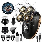 5-in-1 Herren Elektrisch Rasierer, Elektrorasierer Glatzen Haarschneider Bartschneider, IPX6 Wasserdicht Nass&Trockenrasierer, LED- Display, USB-Wiederaufladbar