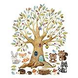 Kinderzimmer Wandtattoo Junge Mädchen, Baum Waldtiere Herbst, 150 x 120