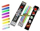 Leuchtende Essstäbchen, Star Wars, LED-Leuchtschwert, wiederverwendbar, Sushi-Leuchter, abnehmbarer Griff, spülmaschinenfest, 8 Farbmodi, 2 Paar