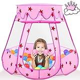 Fivejoy Baby Spielzelt, Kinderspielzelt Mädchen Kinder Zelt Einfach In 3 Sekunden Zu Bauen, Faltbare Tragetasche 31cm Prinzessin Zelt Innen & Draussen-Weihnachten, Geschenk Für Kinder ( Rosa )